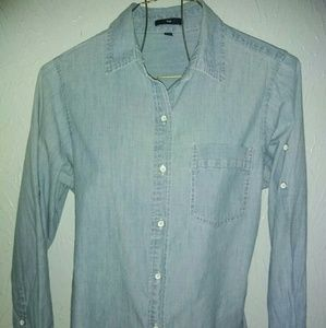 New Gap S Chambray Button Shirt Long Sleeve
